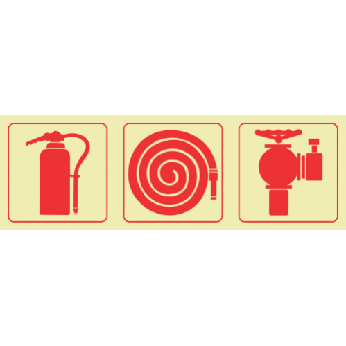 F23 - Fire Extinguisher & Fire Hose Reel & Fire Hydrant Photoluminescent Sign (Glow In The Dark)