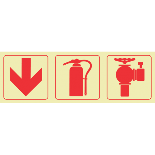 F10 - Arrow Down & Fire Extinguisher & Fire Hydrant Photoluminescent Sign (Glow In The Dark)