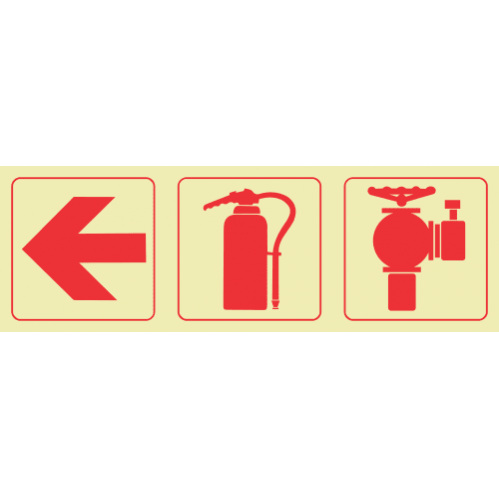 F11 - Arrow Left & Fire Extinguisher & Firy Hydrant Photoluminescent Sign (Glow In The Dark)