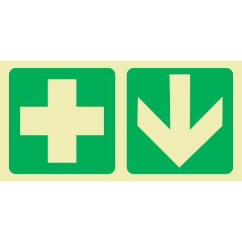 E7A - SABS Green Cross & Arrow Down Photoluminescent Sign (Glow In The Dark) - 190x380mm