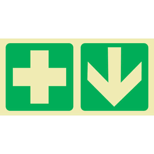 PLE21 - First Aid Ahead Photoluminescent Sign (Glow-In-The-Dark)