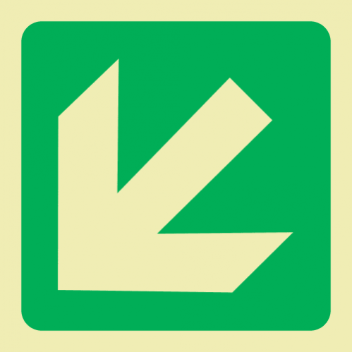 E30 - Diagonal Arrow Down & Left Photoluminescent Sign (Glow In The Dark)