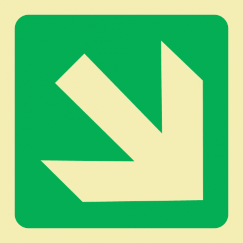 E31 - Diagonal Arrow Down & Right Photoluminescent Sign (Glow In The Dark)
