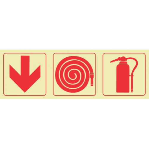F4 - SABS Arrow Down & Fire Hose Reel & Fire Extinguisher Photoluminescent Sign (Glow In The Dark) - 190x570mm