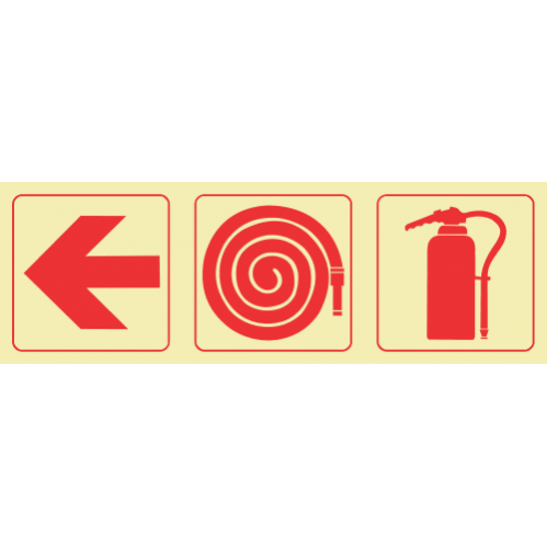 F5 - Arrow Left & Fire Hose Reel & Fire Extinguisher Photoluminescent Sign (Glow In The Dark)