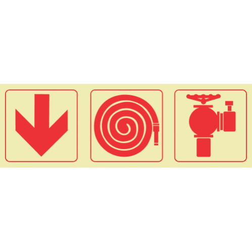 F7 - Arrow Down & Fire Hose Reel & Fire Hydrant Photoluminescent Sign (Glow In The Dark)