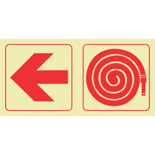 F17 - SABS Arrow Left & Fire Hose Reel Photoluminescent Sign (Glow In The Dark) - 190x380mm