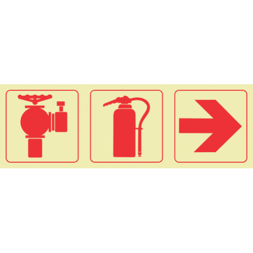 F12 - SABS Fire Hydrant & Fire Extinguisher & Arrow Right Photoluminescent Sign (Glow In The Dark) - 190x570mm