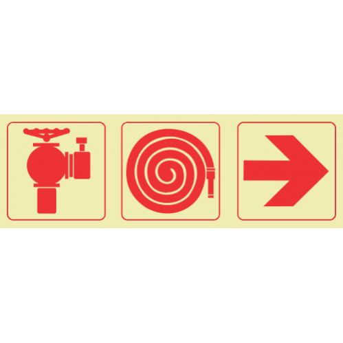 F9 - SABS Fire Hydrant & Fire Hose Reel & Arrow Right Photoluminescent Sign (Glow In The Dark) - 190x570mm