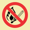 F26 - SABS No Open Or Naked Flames Photoluminescent Sign (Glow In The Dark) - 190x190mm