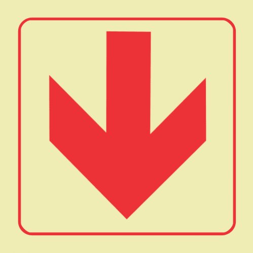 F38 - Arrow Down Photoluminescent Sign (Glow In The Dark)