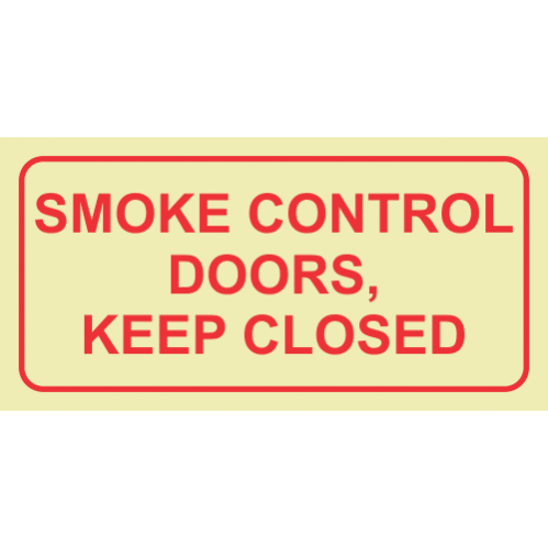 F42 - Smoke Control Doors, Keep Close Photoluminescent Sign (Glow In The Dark)