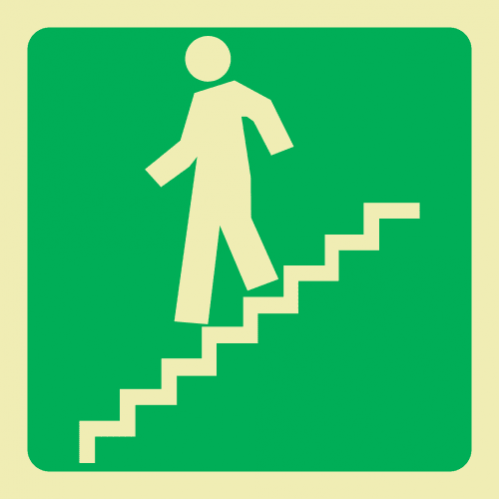 E9A - Running Man On Stairs Going Down & Left Photoluminescent Sign (Glow In The Dark)