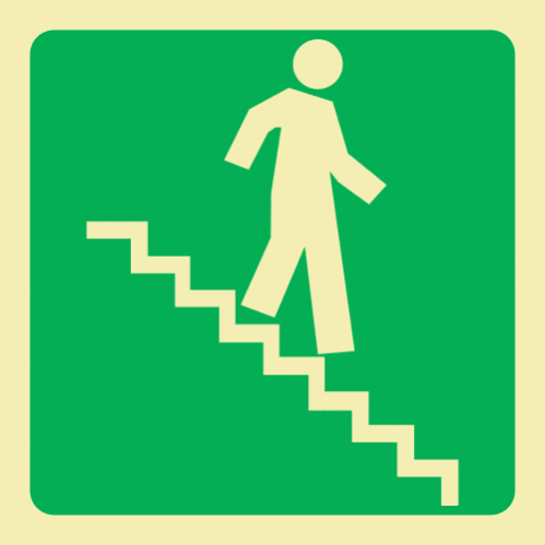 E8A - SABS Running Man On Stairs Going Down & Right Photoluminescent Sign (Glow In The Dark) - 190x190mm