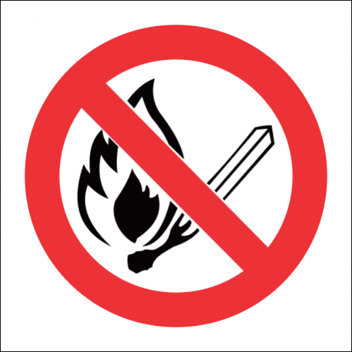 No Open Flame Hazchem Warning Sign - HWS002