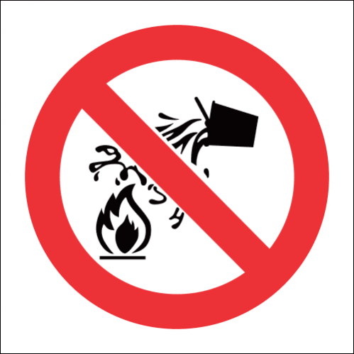 PV4 - SABS Water As Extinguishing Prohibited Safety Sign