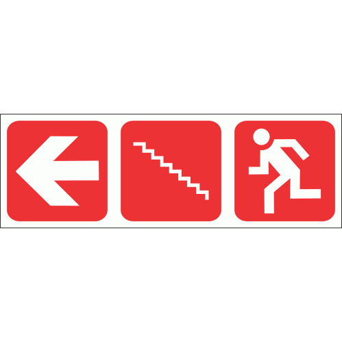 FR56 - Fire Escape Stairs Left Safety Sign
