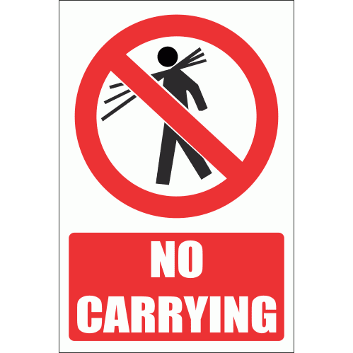 PV8E - No Carrying Explanatory Safety Sign