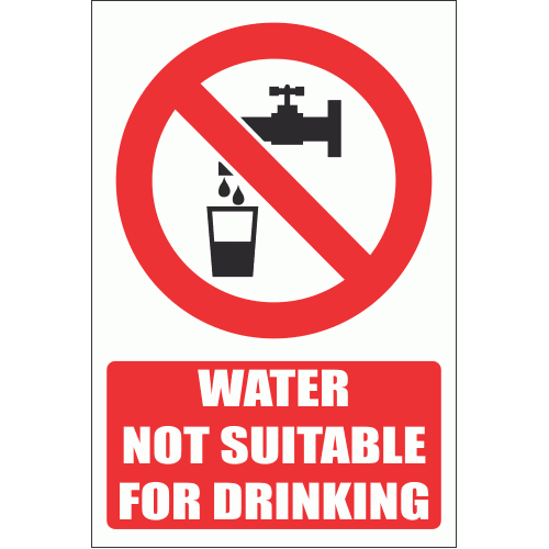 PV5E - No Drinking Water Explanatory Safety Sign