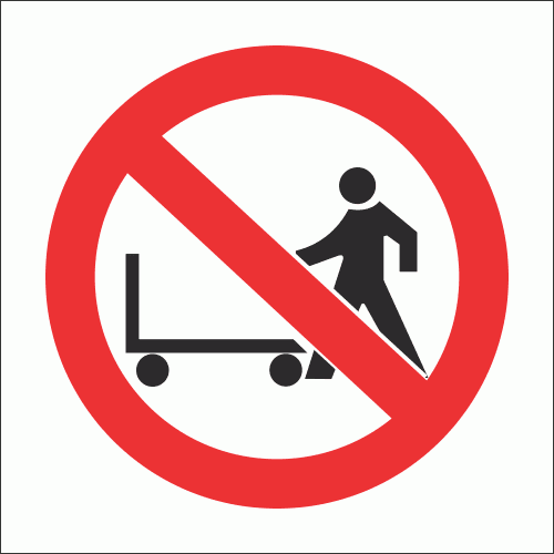 PV9 - No Hand Trolleys Safety Sign