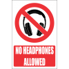 PR40E - No Headphones Explanatory Sign