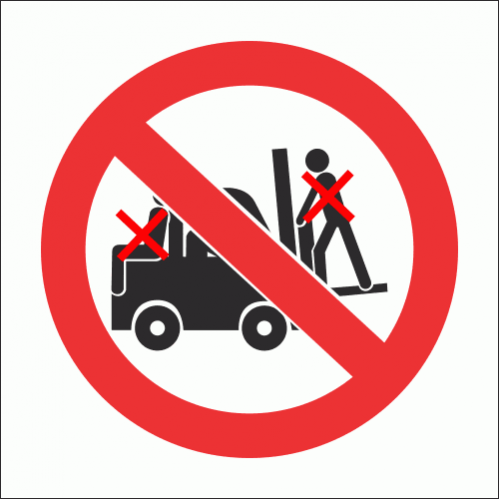 PV29 - No Lifting On Forklift Safety Sign