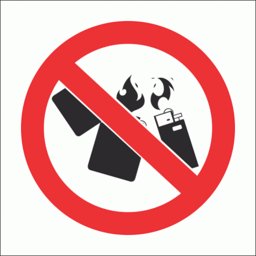 PV26N - No Lighters Safety Sign