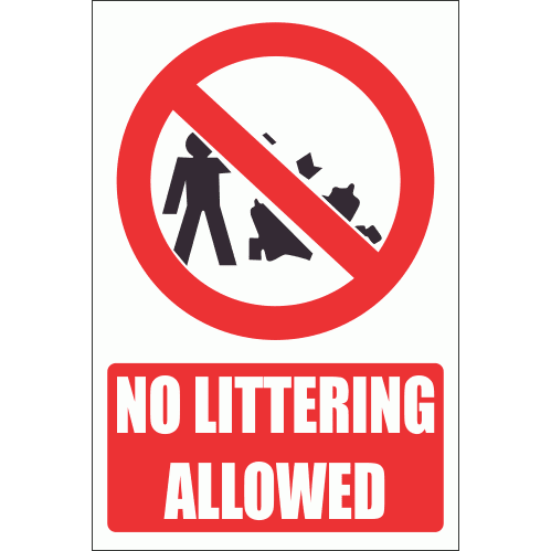 PV23E - No Littering Explanatory Safety Sign