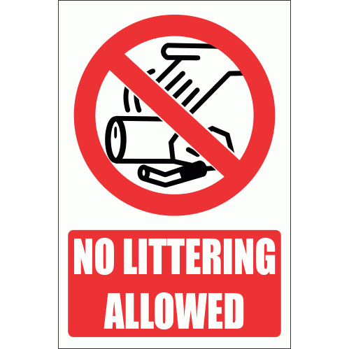 PV23EN - No Littering Explanatory Safety Sign