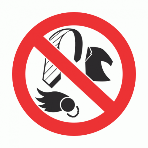 No Loose Clothing Safety Sign - PV12