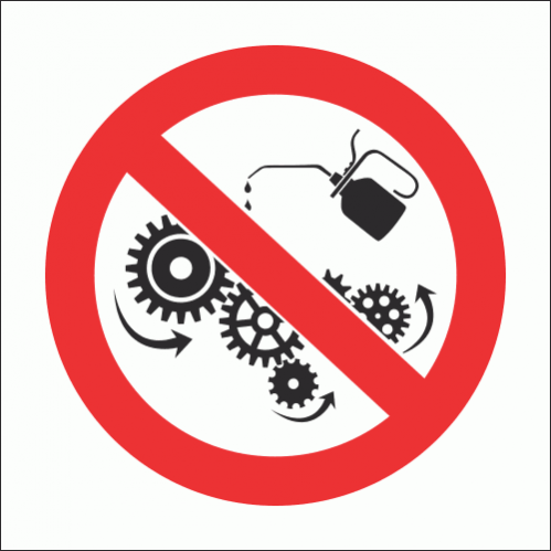 PV35N - No Oiling Or Cleaning While In Motion Safety Sign