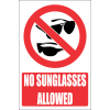 PR48E - No Sunglasses Explanatory Sign