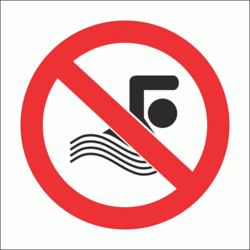 PV24N - No Swimming Safety Sign