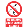 PR45E - No Walking Under Cranes Explanatory Sign