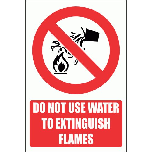 PV4E - Water As Extinguishing Prohibited Explanatory Safety Sign