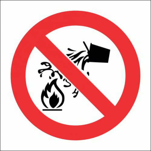 PV4 - Water As Extinguishing Prohibited Safety Sign