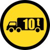 TR124 - Temporary Goods Vehicles Over Indicated GVM Only Road Sign