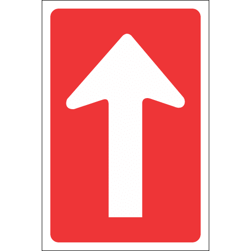R4.3 - One-Way Straight-On Road Sign