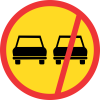 TR214 - Temporary No Overtaking - All Vehicles Road Sign