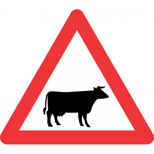 W310 - Domestic Animals (Cattle) Road Sign