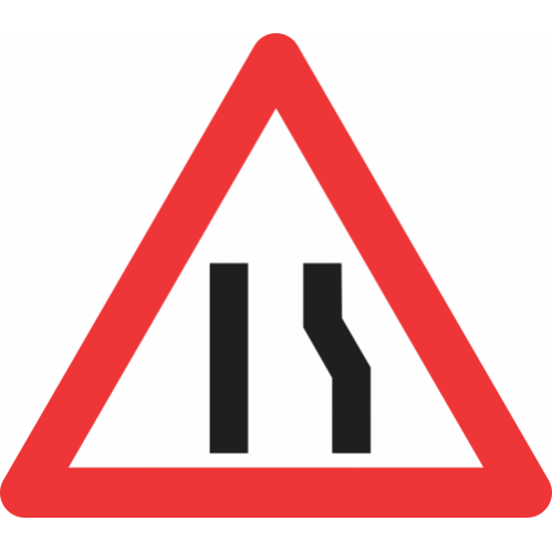 W329 - Road Narrows From Right Side Only Road Sign