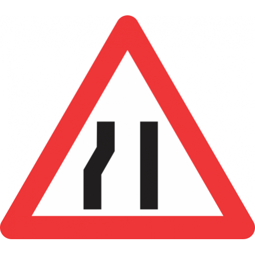 W330 - Road Narrows From Left Side Only Road Sign