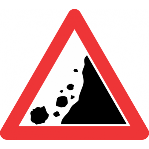 W334 - Falling Rocks From Right Road Sign