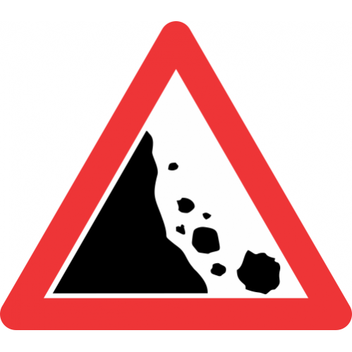 W335 - Falling Rocks From Left Road Sign