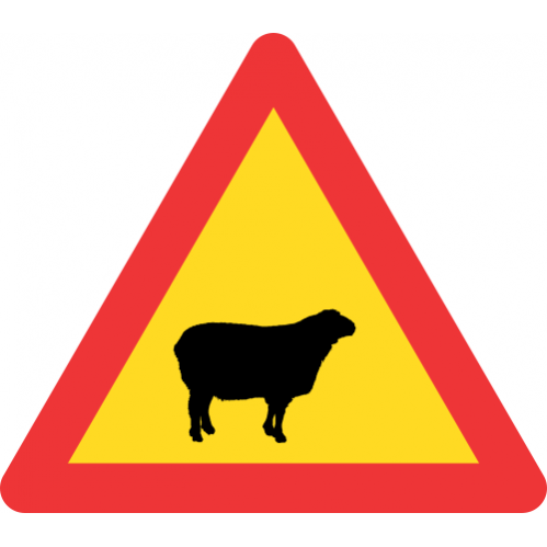TW312 - Temporary Domestic Animals (Sheep) Road Sign