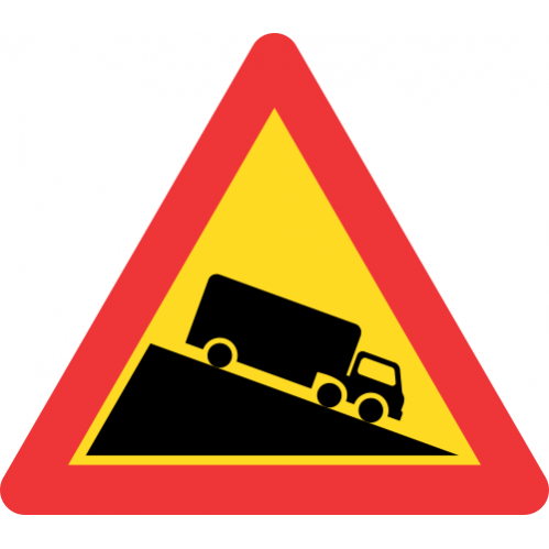 TW322 - Temporary Steep Descent Road Sign