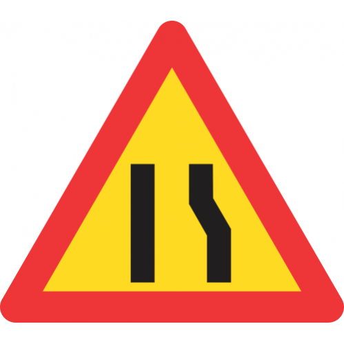 TW329 - Temporary Road Narrows From Right Side Only Road Sign