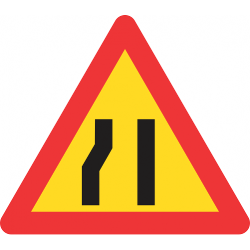 TW330 - Temporary Road Narrows From Left Side Only Road Sign