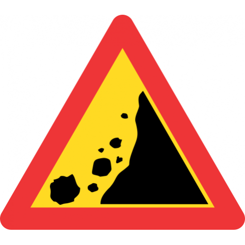 TW334 - Temporary Falling Rocks From Right Road Sign