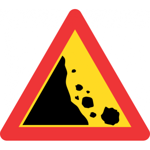 TW335 - Temporary Falling Rocks From Left Road Sign